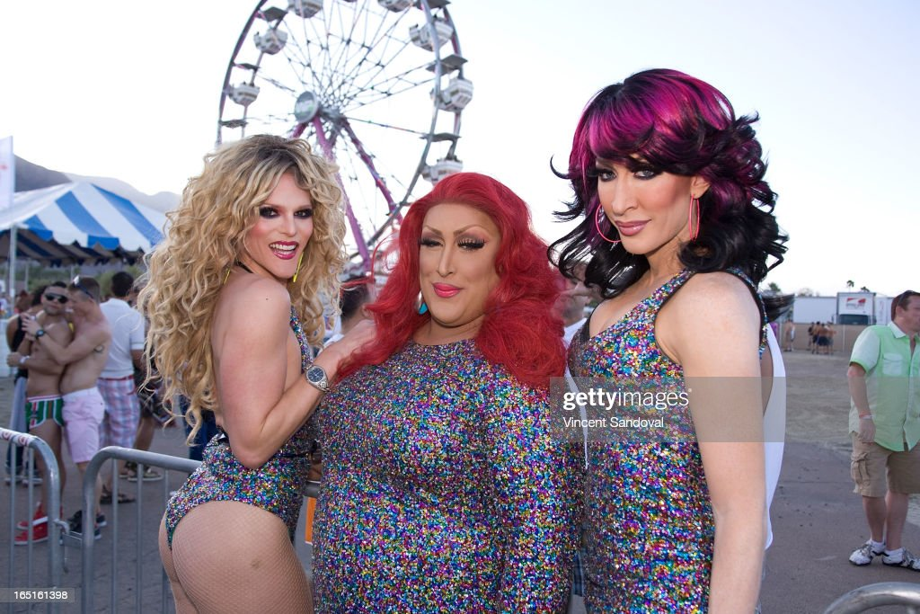 Willam, Detox and Vicki Vox attend the Circus Xtreme T-Dance during Jeffrey Sanker presents White Party Palm Springs 2013 Day 3 at the White Party Park on March 31, 2013 in Palm Springs, California.