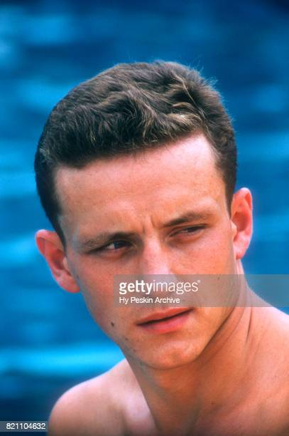 Willam Yorzyk of the United States poses for a portrait during the 1956 Olympic swimming trials circa August 1956 at Rouge Park in Detroit Michigan