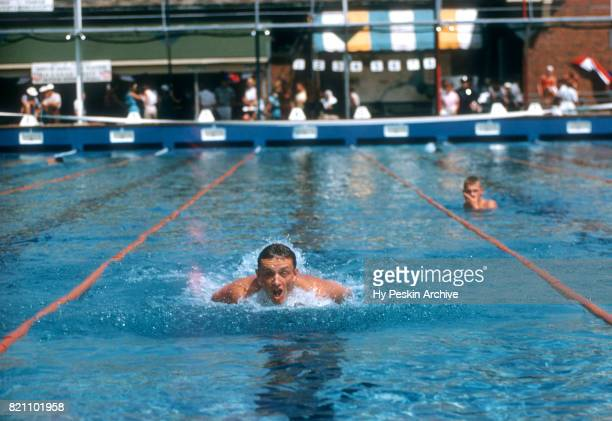 Willam Yorzyk of the United States swims during the 1956 Olympic swimming trials circa August 1956 at Rouge Park in Detroit Michigan