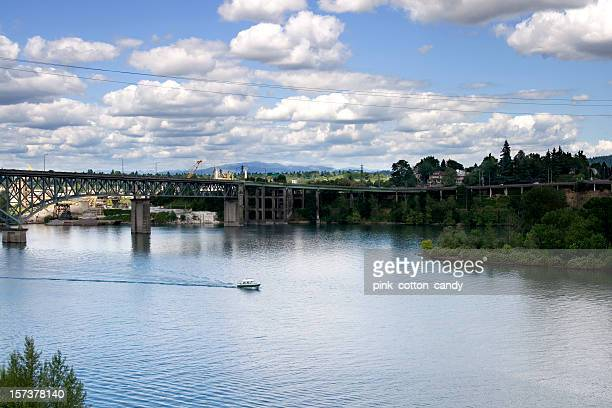 Willamette River Ross Island Bridge Portland Oregon
