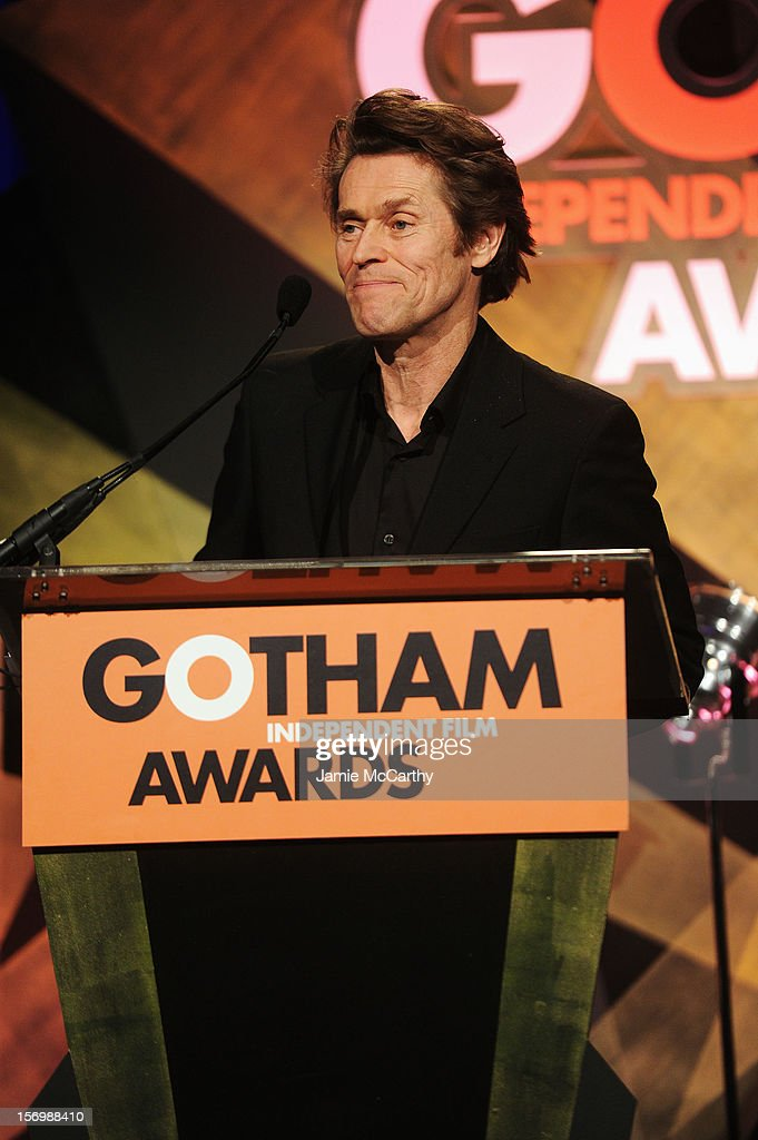 <a gi-track='captionPersonalityLinkClicked' href=/galleries/search?phrase=Willem+Dafoe&family=editorial&specificpeople=203171 ng-click='$event.stopPropagation()'>Willem Dafoe</a> speaks onstage at the 22nd Annual Gotham Independent Film Awards at Cipriani Wall Street on November 26, 2012 in New York City.