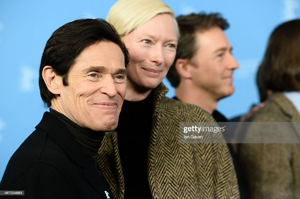 <a gi-track='captionPersonalityLinkClicked' href=/galleries/search?phrase=Willem+Dafoe&family=editorial&specificpeople=203171 ng-click='$event.stopPropagation()'>Willem Dafoe</a>, <a gi-track='captionPersonalityLinkClicked' href=/galleries/search?phrase=Tilda+Swinton&family=editorial&specificpeople=202991 ng-click='$event.stopPropagation()'>Tilda Swinton</a> and <a gi-track='captionPersonalityLinkClicked' href=/galleries/search?phrase=Edward+Norton&family=editorial&specificpeople=210580 ng-click='$event.stopPropagation()'>Edward Norton</a> attend 'The Grand Budapest Hotel' photocall during 64th Berlinale International Film Festival at Grand Hyatt Hotel on February 6, 2014 in Berlin, Germany.