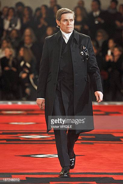 Willem Dafoe walks the runway during the Prada ready to Wear Fall/Winter 2012 2013 show as part of the Milan Men Fashion Week on January 15 2012 in...