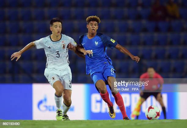 Willem Geubbels of France and Yuki Kobayashi of Japan in action during the FIFA U17 World Cup India 2017 group E match between France and Japan at...