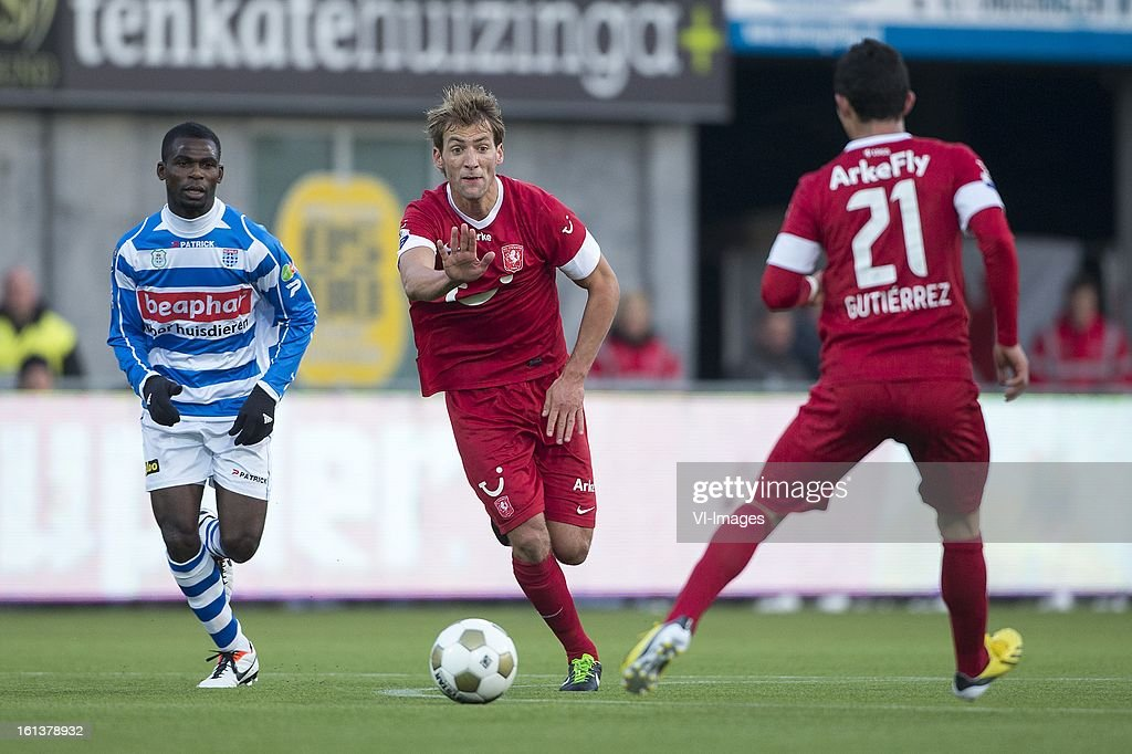 Willem Janssen of FC Twente, Felipe Gutierrez of FC Twente during the Dutch Eredivisie match between PEC Zwolle and FC Twente at the IJsseldelta Stadium on february 10, 2013 in Zwolle, The Netherlands