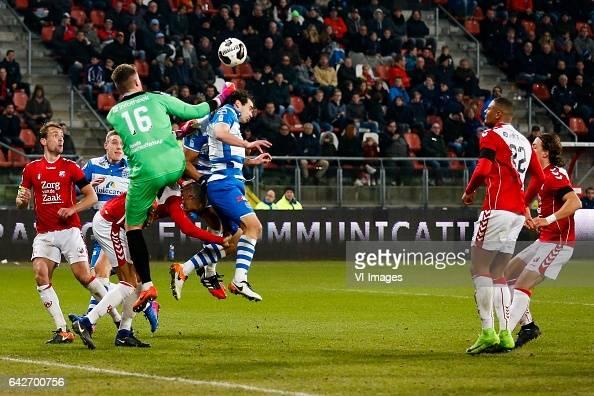 Willem Janssen of FC Utrecht goalkeeper David Jensen of FC Utrecht Ouasim Bouy of PEC Zwolle Dirk Marcellis of PEC Zwolle Sebastien Haller of FC...
