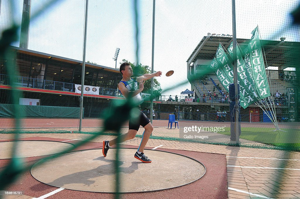 Willem Maree of Gauteng competes in discus during day 3 of The Nedbank National Championships for the Physically Disabled at LC de Villiers Stadium on March 25, 2013 in Pretoria, South Africa.