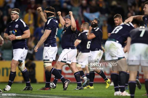 Willem Nell of Scotland and his team mates celebrate victory during the International Test match between the Australian Wallabies and Scotland at...