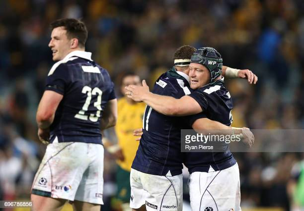 Willem Nell of Scotland celebrates victory during the International Test match between the Australian Wallabies and Scotland at Allianz Stadium on...