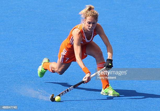 Willemijn Bos of Netherlands in action during the match between Netherlands and Germany on day eight of the Unibet EuroHockey Championships at Lee...