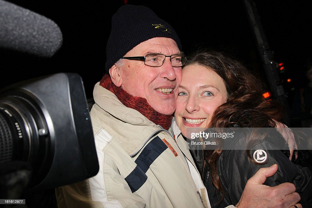 Willemijn Verkaik (R) and her father pose at the stagedoor as Willemijn Verkaik makes her Broadway Debut In 'Wicked' On Broadway at The Gershwin Theatre on February 12, 2013 in New York City.