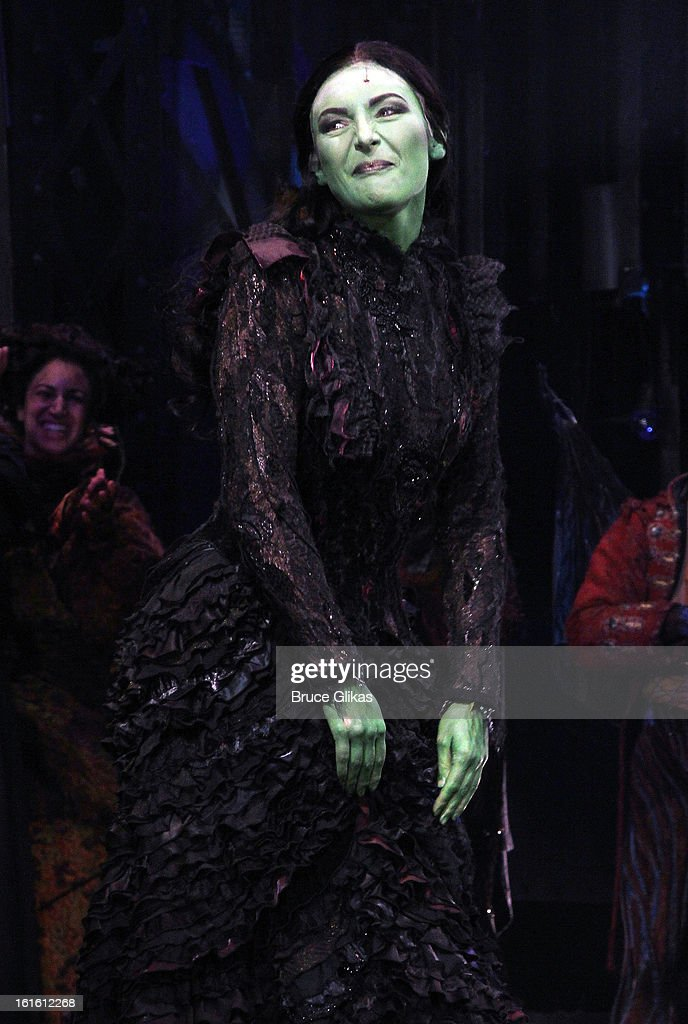 Willemijn Verkaik takes her curtain call as 'Elpheba' as she makes her Broadway Debut In 'Wicked' On Broadway at The Gershwin Theatre on February 12, 2013 in New York City.