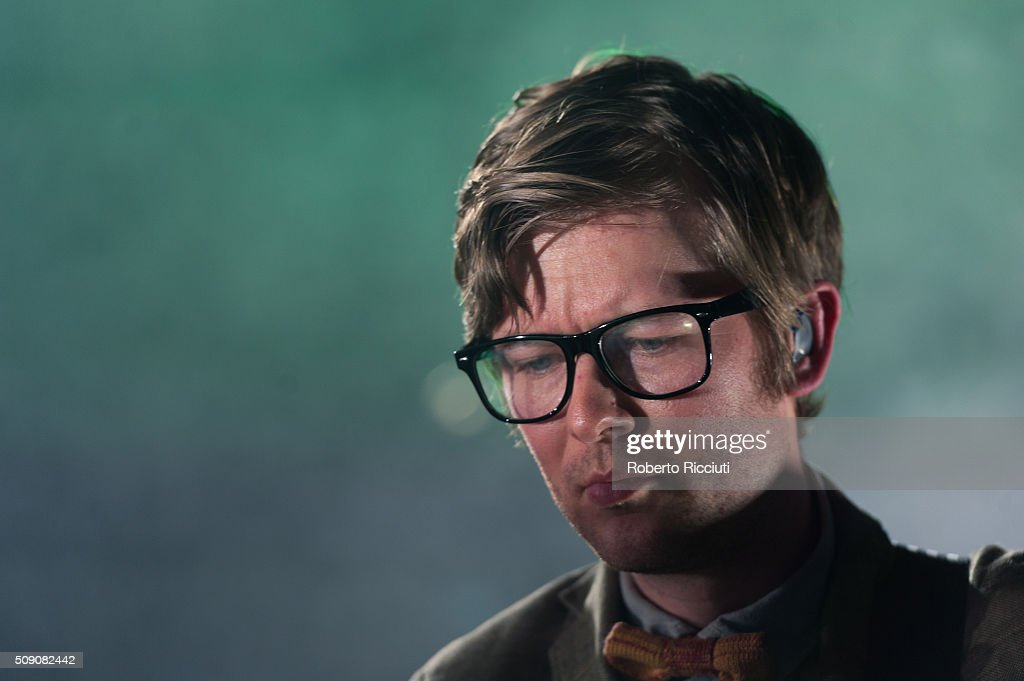 J. Willgoose Esq. of Public Service Broadcasting performs on stage at Queen's Hall on February 8, 2016 in Edinburgh, Scotland.