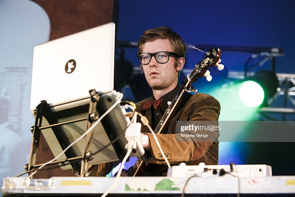 J. Willgoose Esq of Public Service Broadcasting performs on stage on Day 3 of Kendal Calling Festival at Lowther Deer Park on July 28, 2013 in Kendal, England.