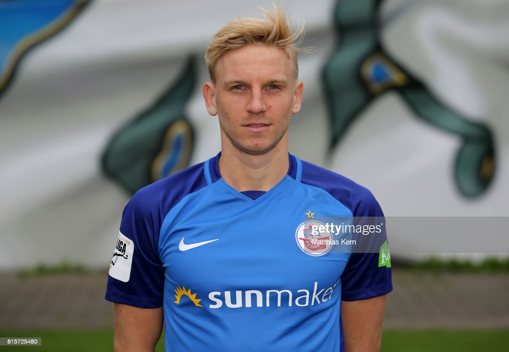 Willi Evseev of FC Hansa Rostock poses during the team presentation at Ostseestadion on July 16, 2017 in Rostock, Germany.