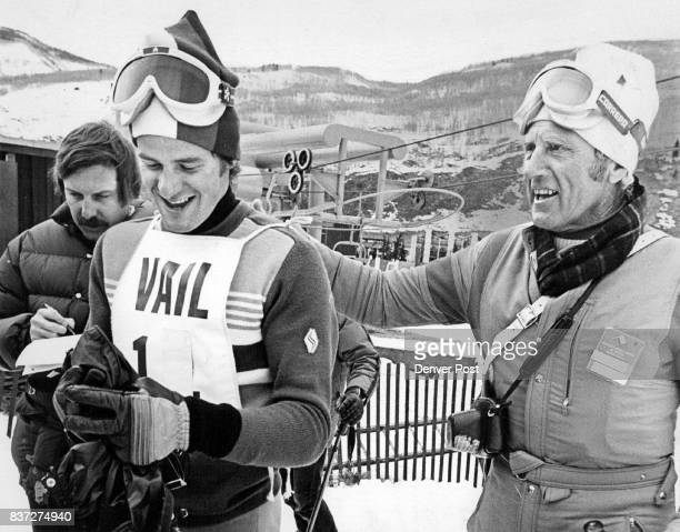 Willi Frommelt Liechtenstein gets congratulations from Willy Schaeffler right former Denver University ski coach after winning parallel slalom Credit...