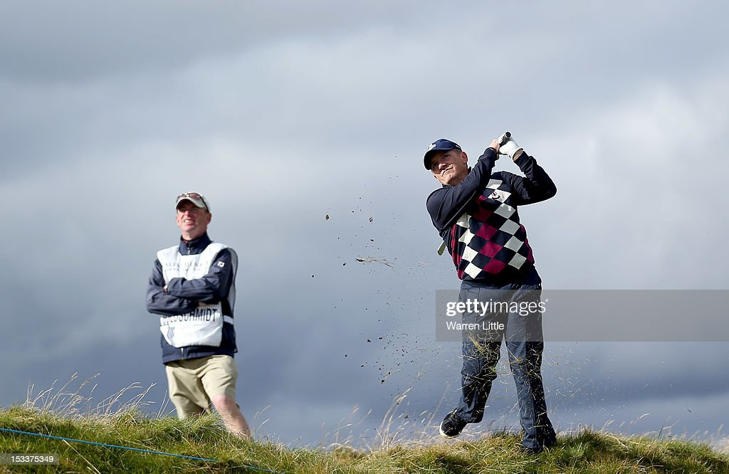 Willi Goldschmidt plays his second shot to the second hole during the first round of The Alfred Dunhill Links Championship at Carnoustie Golf Links on October 4, 2012 in Carnoustie, Scotland.