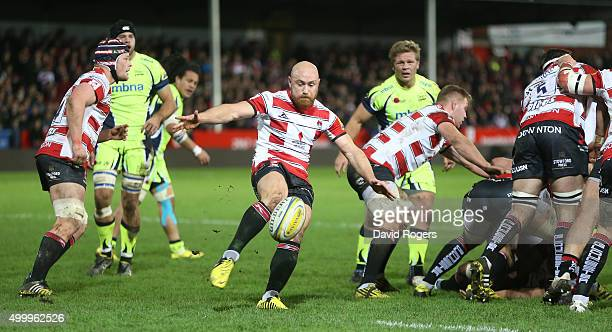 Willi Heinz of Gloucester kicks the ball upfield during the Aviva Premiership match between Gloucester and Sale Sharks at Kingsholm on December 4...