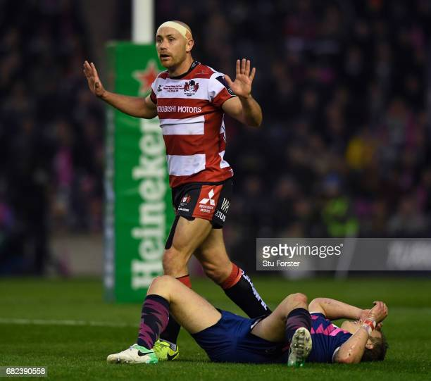 Willi Heinz of Gloucester pleads his inoccence following a high tackle on Jules Plisson of Stade Francais during the European Rugby Challenge Cup...