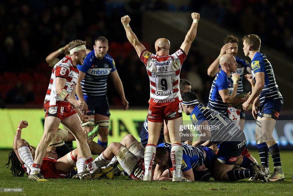 Willi Heinz of Gloucester Rugby celebrates at full-time following the Aviva Premiership match between Sale Sharks and Gloucester Rugby at the AJ Bell Stadium on April 29, 2016 in Salford, England.