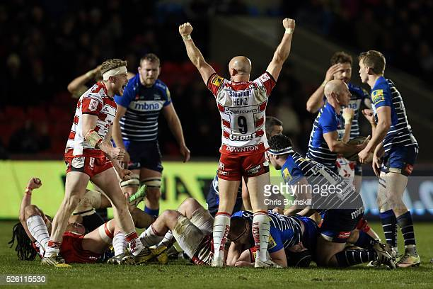 Willi Heinz of Gloucester Rugby celebrates at fulltime following the Aviva Premiership match between Sale Sharks and Gloucester Rugby at the AJ Bell...