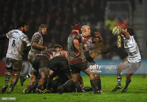 Willi Heinz of Gloucester Rugby kicks the ball during the Aviva Premiership match between Gloucester Rugby and London Irish at Kingsholm Stadium on...