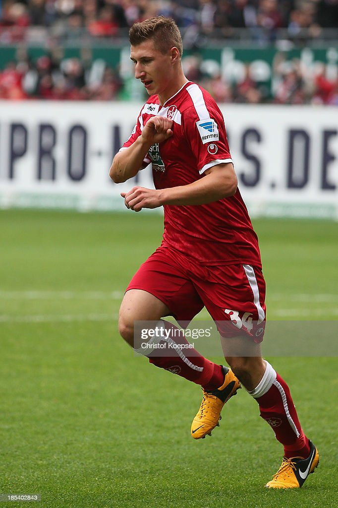 Willi Orban of Kaiserslautern celebrates the second goal during the the Second Bundesliga match between 1. FC Kaiserslautern and Karlsruher SC at Fritz-Walter-Stadion on October 20, 2013 in Kaiserslautern, Germany.