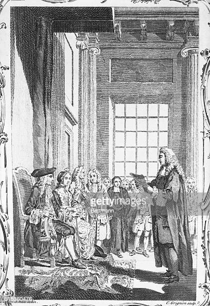 the Clerk of the Crown reading the Bill of Rights to the Prince and Princess of Orange in the Banquetting Hall at Whitehall previous to the offering...