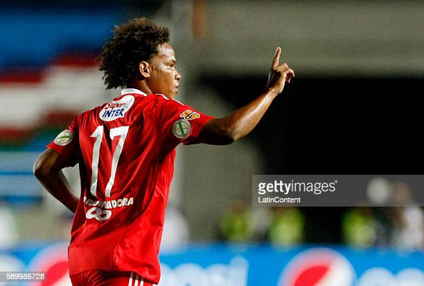 William Arboleda of America de Cali celebrates after scoring the second goal of his team during a match between America de Cali and Bogota FC as part...
