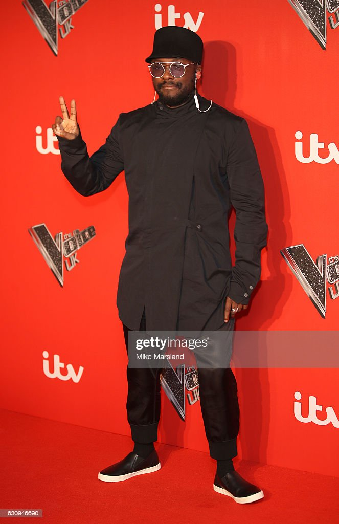 Will.I.Am arrives for the press launch of The Voice UK at Millbank Tower on January 4, 2017 in London, England.