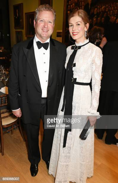 William Asprey William Son founder and Rosamund Pike attend the Portrait Gala 2017 sponsored by William Son at the National Portrait Gallery on March...