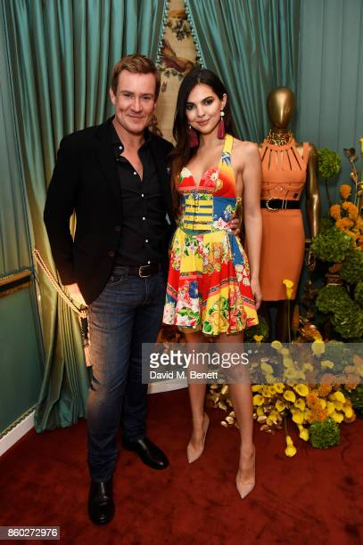 William BanksBlaney and Doina Ciobanu attend the William Vintage x Farfetch Gianni Versace archive launch dinner at The Dorchester on October 11 2017...