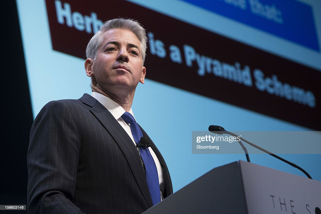 William 'Bill' Ackman, founder and chief executive officer of Pershing Square Capital Management LP, pauses while speaking in front a screen displaying 'Herbalife is a Pyramid Scheme' during a presentation in New York, U.S., on Thursday, Dec. 20, 2012. Herbalife Ltd., the maker of namesake nutritional and weight-loss supplements, fell for the second day after Ackman said he has taken a short position on the company. Photographer: Scott Eells/Bloomberg via Getty Images