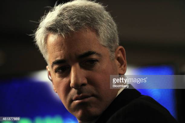 William 'Bill' Ackman founder and chief executive officer of Pershing Square Capital Management LP pauses during a television interview at the Robin...