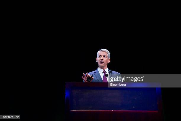 William 'Bill' Ackman founder and chief executive officer of Pershing Square Capital Management LP speaks during an event in New York US on Tuesday...