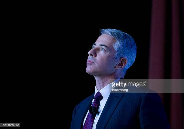 William 'Bill' Ackman founder and chief executive officer of Pershing Square Capital Management LP pauses while speaking during an event in New York...