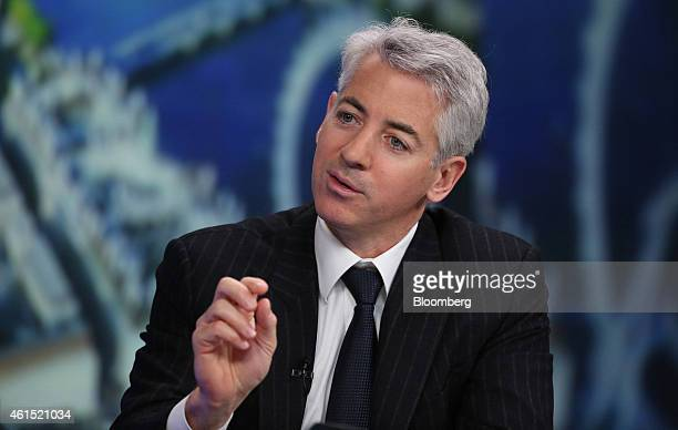 William 'Bill' Ackman founder and chief executive officer of Pershing Square Capital Management LP gestures as he speaks during a Bloomberg...