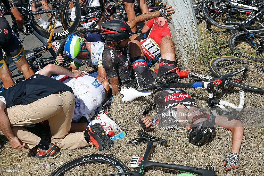 William Bonnet of France riding for FDJ Simon Gerrans of Australia riding for OricaGreenEdge Jose Mendes of Portugal riding for BoraArgon 18 Greg...