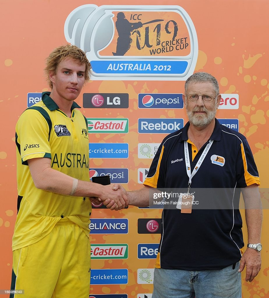 William Bosisto after being named man of the match during the ICC U19 Cricket World Cup 2012 Quarter Final match between Australia and Bangladesh at Endeavour Park on August 19, 2012 in Townsville, Australia.