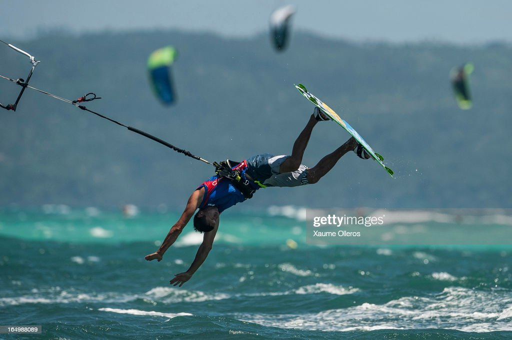 William Bourget of France crashes after failing a trick on freestyle competition during day five of the KTA at Boracay Island on March 30, 2013 in Makati, Philippines.
