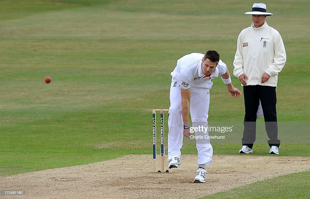 William Boyd Rankin of England bowls during the LV=Challenge Day 3 match between Essex and England at Ford County Ground on July 02, 2013 in Chelmsford, England.