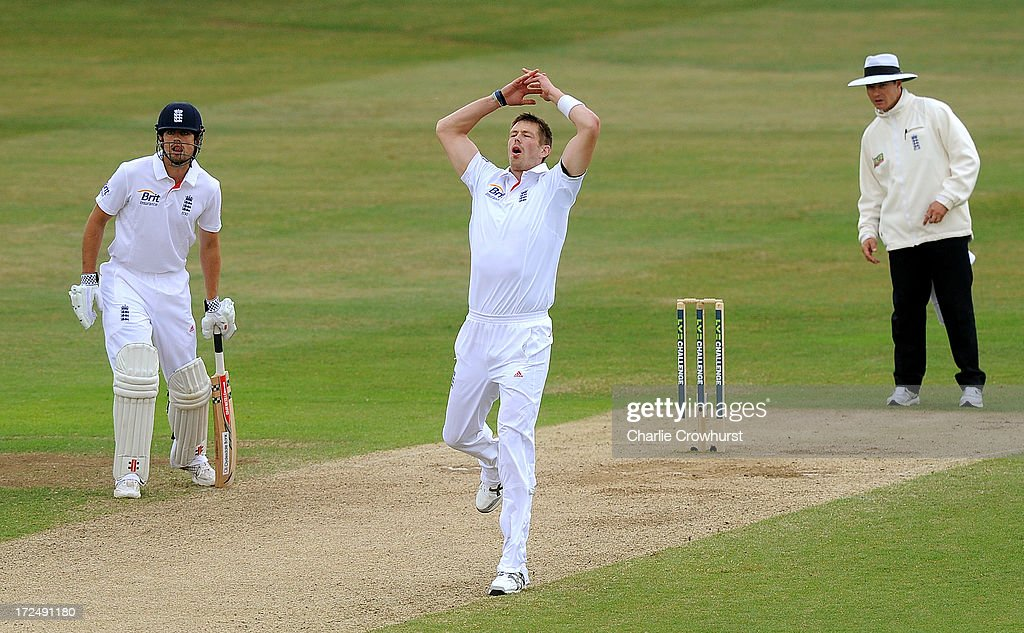 William Boyd Rankin of Essex looks on after Jonathan Trott of England edges to slip during the LV=Challenge Day 3 match between Essex and England at Ford County Ground on July 02, 2013 in Chelmsford, England.