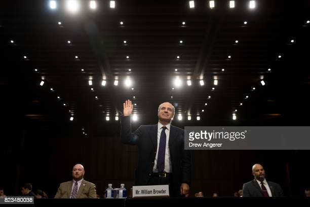 William Browder chief executive officer of Hermitage Capital Management is swornin during a Senate Judiciary Committee hearing titled 'Oversight of...