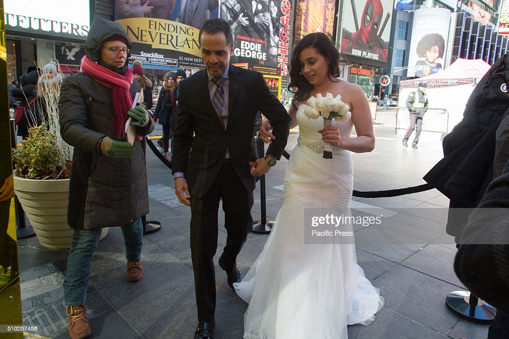 William Browne & Sarah Valentin marry in record freezing temperatures in Times Square NY. Couples get married on the coldest Valentines Day for 100 years in the heart of Times Square NYC.