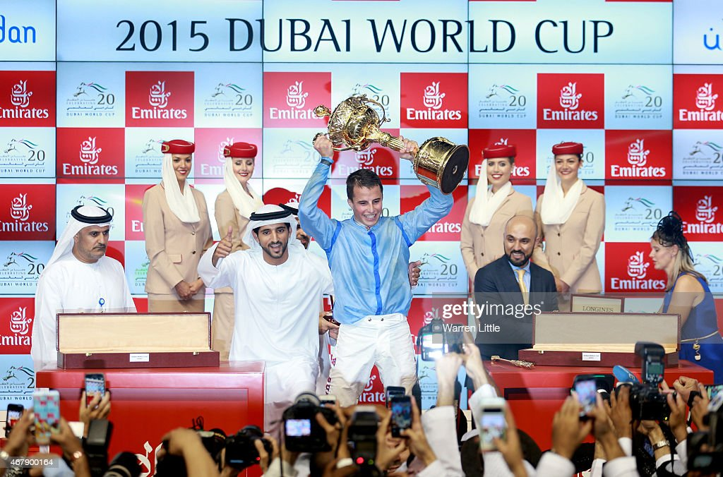<a gi-track='captionPersonalityLinkClicked' href=/galleries/search?phrase=William+Buick&family=editorial&specificpeople=3912320 ng-click='$event.stopPropagation()'>William Buick</a> and Hamdan bin Mohammed bin Rashid Al Maktoum, Crown Prince of Dubai celebrate winning the Dubai World Cup on Prince Bishop at the Meydan Racecourse on March 28, 2015 in Dubai, United Arab Emirates.