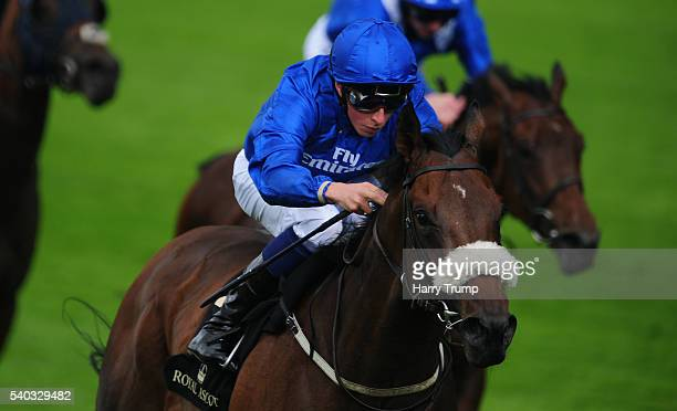 William Buick on board Ribchester races clear to win the Jersey Stakes during Day Two of Royal Ascot 2016 at Ascot Racecourse on June 15 2016 in...