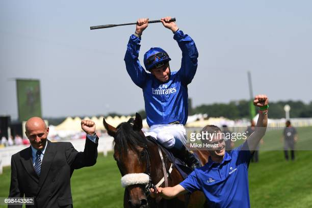 William Buick on Ribchester celebrates after winning the Queen Anne Stakes on the opening day of Royal Ascot at Ascot Racecourse on June 20 2017 in...