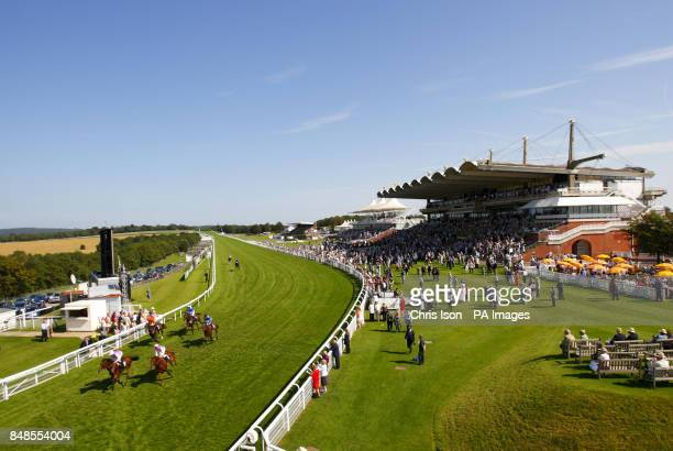 William Buick on Uriah Heep wins the Goodwood Racehorse Owners Group Maiden Stakes at Goodwood Racecourse Chichester