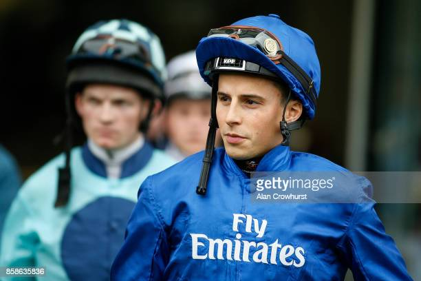 William Buick returns to race riding after a long lay off due to injury at Ascot racecourse on October 7 2017 in Ascot United Kingdom