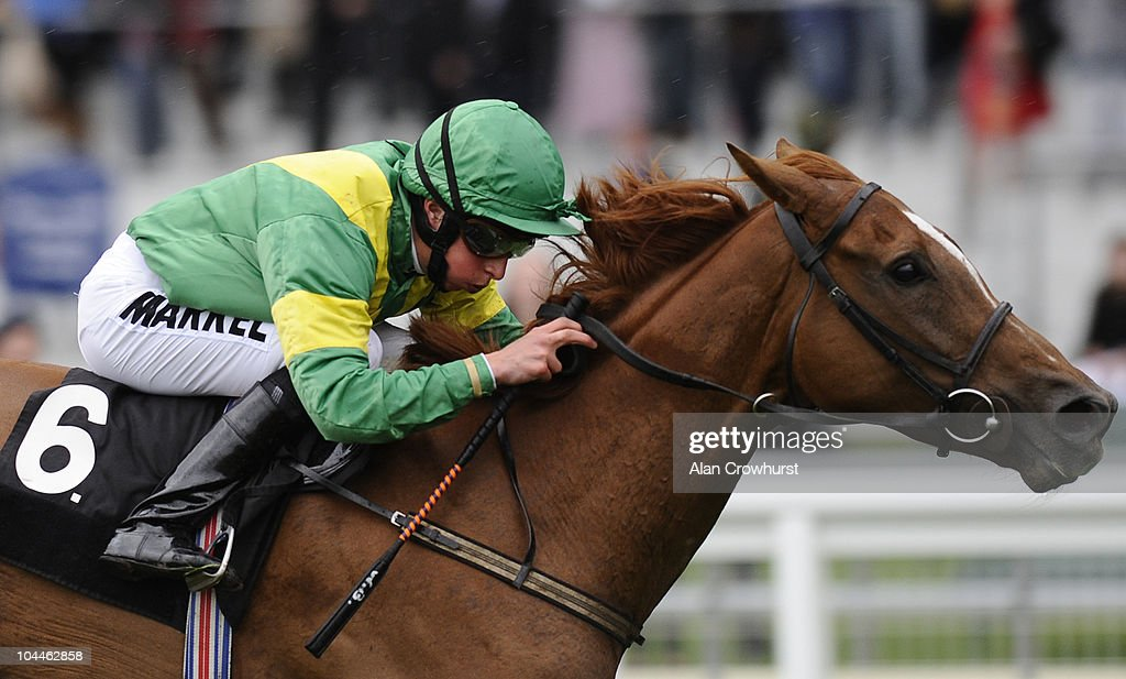 William Buick riding Fictional Account win The SIS Live Fenwolf Stakes at Ascot racecourse on September 26, 2010 in Ascot, England